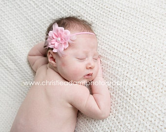 PINK Petite Flower Shabby Chic Feather Couture Headband Preemie Infant Newborn Toddler Child Headband photography prop