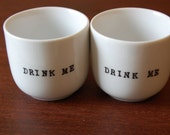 Drink Me Handstamped Cups With Cozies---Set of Two