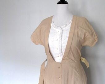 Milk and honey- Vintage dress -size large- eyelet lace- khaki- tan