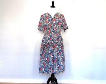 Wild flowers- Vintage Dress- plus size-XXL- button down