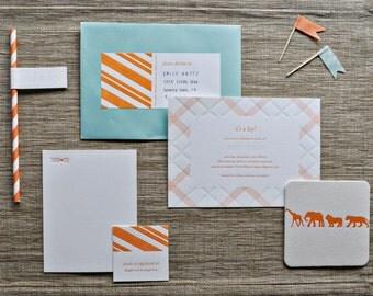 custom letterpress baby shower invitations