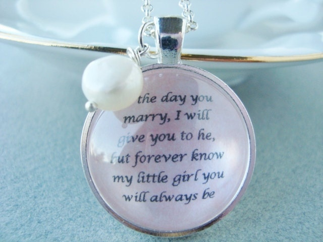 Father Gift To Daughter On Wedding Day: Father To Daughter Bridal Pendant By SweetlySpokenJewelry