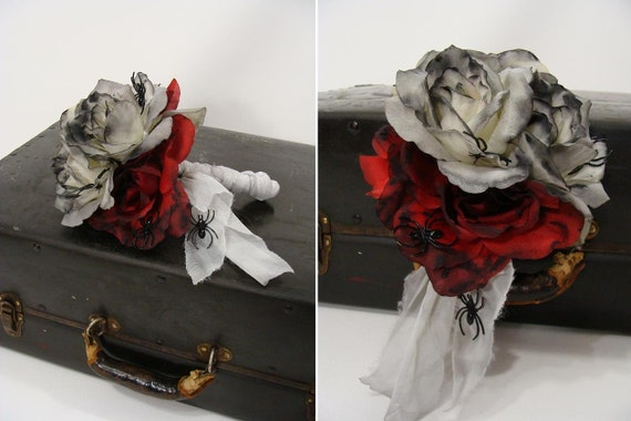Zombie Wedding Gifts: 6 Rose 5 Spider Corpse Bride DEAD FLOWER By Wardrobetheglobe