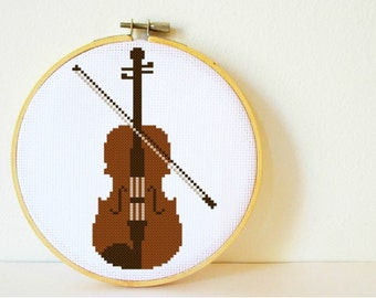 Counted Cross stitch Pattern PDF. Instant download. Violin. Includes easy beginner instructions.