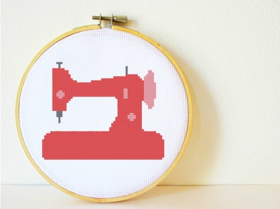 Counted Cross stitch Pattern PDF. Instant download. Sewing Machine. Includes easy beginners instructions.