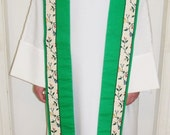 MHYO Clergy Stole Reversible Handmade Green Seasons of the Church Year After Pentecost Epiphany Gift Idea Men Women