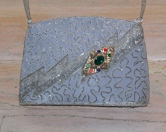 Purse Gray Grey Beaded Vintage Brooch Wedding Second Marriage Gift for Her Mother's Day Birthday Christmas