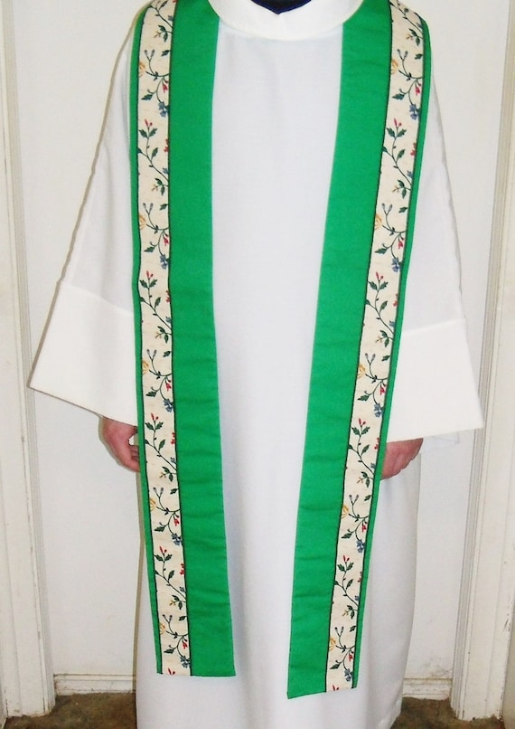 handmade clergy stoles clergy stole reversible handmade green by yoursoccasionally 7516