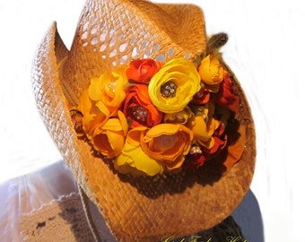Gypsy Heart Silk Flower Blooms with Crystal Jewel and Pearl Centers. Hand Painted Silk Ribbon and Bow. Straw Cowboy Hat.
