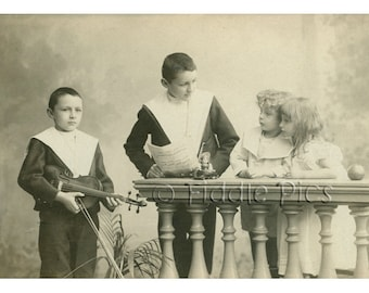 Cabinet Card Photo | Antique Photograph | Victorian Children Boys Girls | Violin Doll