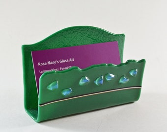 Business Card Holder Fused Glass Green with Dichroic