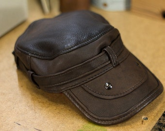 Military Style Leather Cap