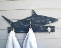 Shark Towel Hook Wooden Mako Shark Coat Hook Ocean Robe Bathroom Hook
