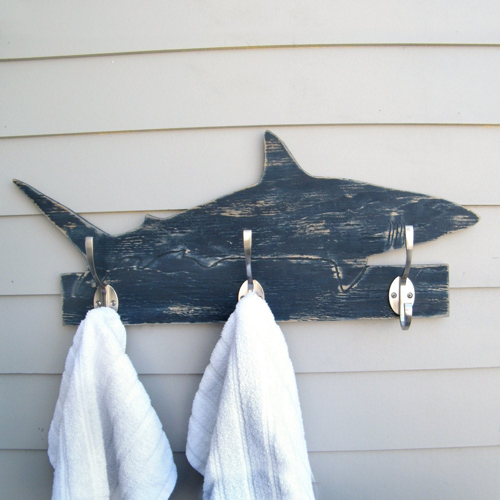 Shark towel hook wooden mako shark coat hook ocean robe
