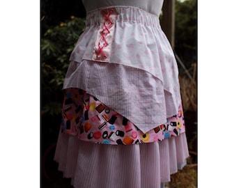 SALE Pastel Pink Pirate skirt  - 4 asymmetric layers,  candy, stripes, checks, love hearts