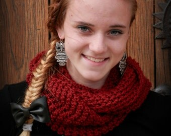 Large Crocheted Infinity Scarf - Autumn Red