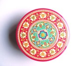 Vintage Tin Round Embossed Tin Sharp & Sons Ltd Maidstone Kent England Pretty Pink Tin Colorful Floral Motif Confectioners Box Cottage Décor