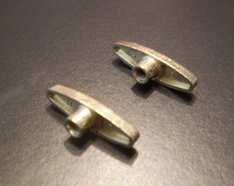 2 Replacement Winding Keys for Music Boxes, Very Short  1/4 inch Gold T Bar - Use for Snow Globes - FREE SHIPPING