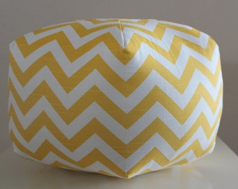 "18"" Ottoman Pouf Floor Pillow Yellow Chevron Zig Zag"