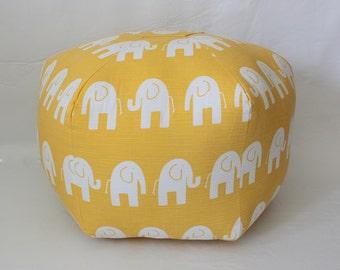 """24"""" Ottoman Pouf Floor Pillow Yellow White Elephant"""