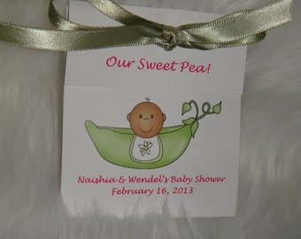 Personalized Pea in the Pod Sweet Pea Baby Shower Sprinkle Tea Party Favors Tetley Tea  African American or Caucasian