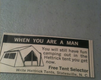 Vintage Hettrick Tent Ad, Camping Ad