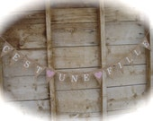 "C'est une fille"" french for  ""it's a girl""  banner burlap banner in white lettering, baby shower banner, bonjour bebe"