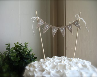 Mr. & Mrs. Wedding Cake Topper in tea dyed Cotton and white lettering, baker banner, cake banner, hearts, pie toppr