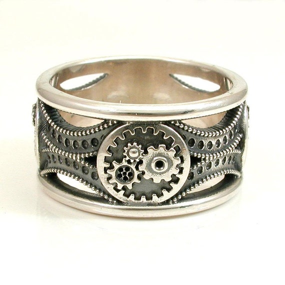 silver gear ring steunk deco mens by swankmetalsmithing