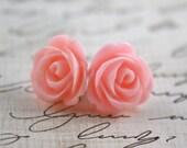 Baby Pink Rose Earrings - Pink Rosette Earrings - PInk Wedding - Bridesmaid Earrings - Flowergirl Earrings