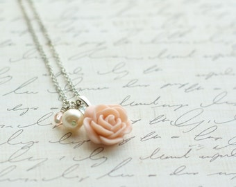 SALE - Blush Rose Necklace - Blush and Pearl Necklace - Blush Wedding - Bridesmaid Necklace - Rose Necklace - Antique Pink Rose Necklace
