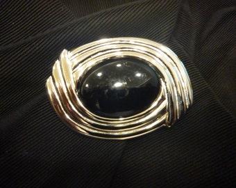 VIntage NAPIER Silver and Black BROOCH