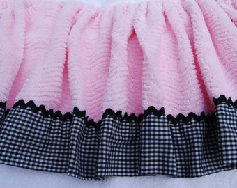 Pink Black Gingham Chenille Bedspread FABRIC Piece Gathered Skirted