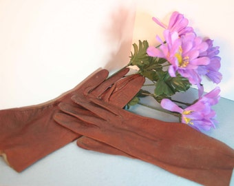 Vintage Brown Leather Aries Kid Gloves - Small