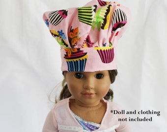 Retro Pink Cupcake Doll Size Chef Hat