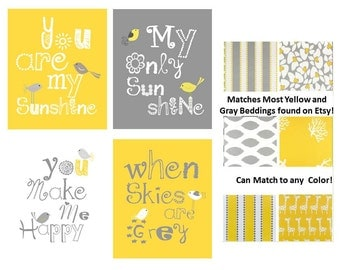 You are my sunshine Art - Yellow and Gray Art - Yellow and Gray Nursery - Yellow and Grey Nursery Art - Yellow Wall Art - 4-8x10 PRINTS ONLY