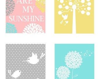 Nursery Decor // Yellow Pink Aqua and Gray Art // You Are My Sunshine Art // Modern Nursery Art // Cute Nursery Art Prints // Art for Kids