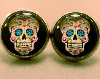 Skull Studs: Black Sugar Skull Stud Earrings, Skull Earrings,Day of the Dead, Cabachon, Domed, Fake Plug