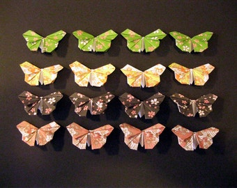 100 small pattern Origami Paper Butterflies in 4 colors many colors card topper