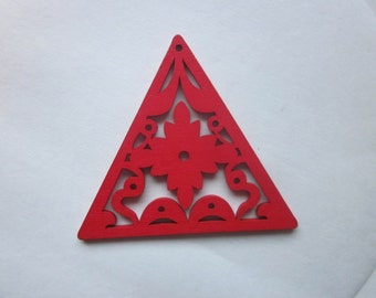 Red Wood Triangle Pendants Large 65mm 2 Pendants