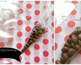 25 Clear Cone Shaped Cello Bags 6x12,  Party Favor Bags,  Cello Bags, Candy Cone Cello Bags, Candy Bags
