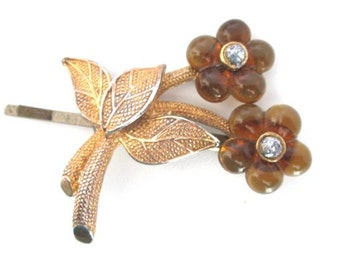 Bridal Hair Accessory Mid Century Vintage Hairpin Autumn Flower Hairpiece Clip
