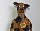 PATTERN Primitive Cow, Spotted Cow, Primitive Cow Doll, Country Cow, Folk Art Cow, Primitive Home Decor, Handmade Primitive Doll