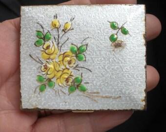 Vintage 1940s Cloisonne By Schildkraut Yellow Flowers Beveled Mirror Guilloche Powder Compact
