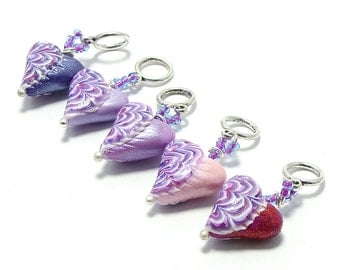 Knitting stitch markers shades of purple ornament hearts set of five