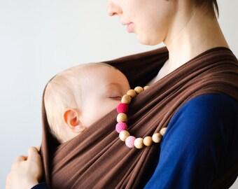 Pink Wooden Teething / Mommy Bracelet - KangarooCare - juniper wood