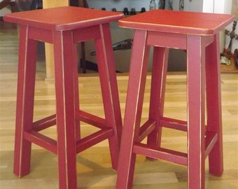 "Reclaimed wood/ Distressed/ bar stool/ counter stool/ painted/ RED/ 25"" TO 30"" H"