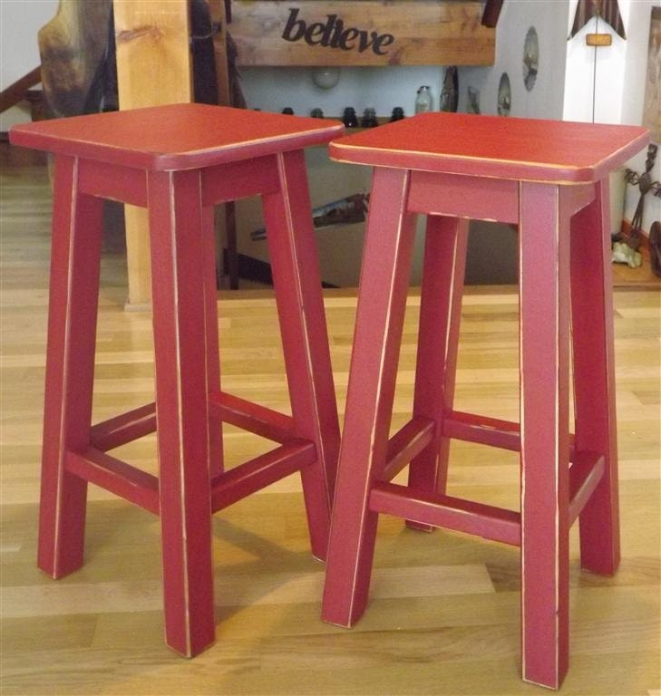 Wood Stool Distressed Bar Stool Counter Stool Painted Red