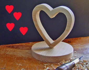 DIY WEDDING Cake Topper - Hand Carved Heart - Ready to Finish YOURWAY - Paint - Stain - Decoupage - by SuppliesWKStudios