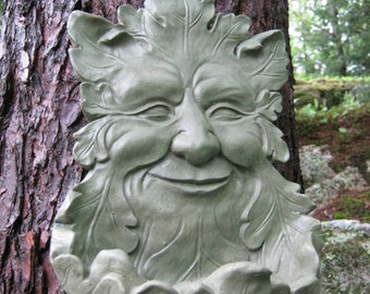 Green Man Hanging Feeder, Hanging, Succulent Planter, Garden Decor, Leaf  Man Face